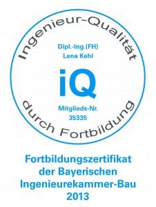 Zertifikat Bayerische Ingenieurekammer-Bau 2013